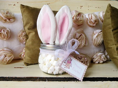 A mason jar craft filled with marshmallows and topped with bunny ears is an easy craft idea you can make and use it as a gift for teacher, mom, sister and anyone else.