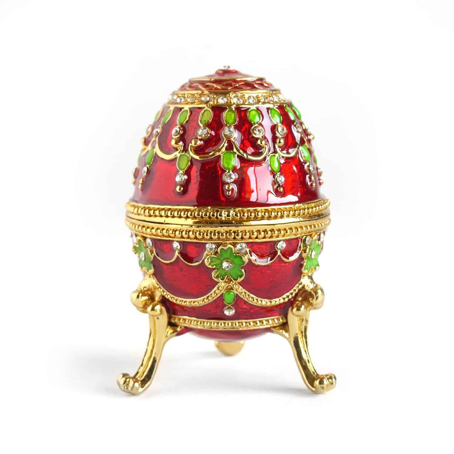 Rich Red Vintage Faberge Egg with Gold Finish