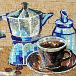 Blue kettle and cups mosaic