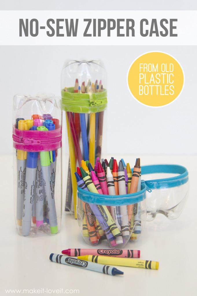 no-sew bottle pencil case
