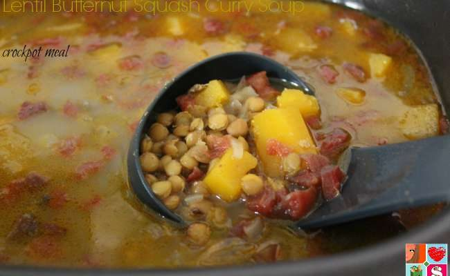 Lentil Butternut Squash Curry Soup Recipe of #12DaysOf Slow Cooker Meals