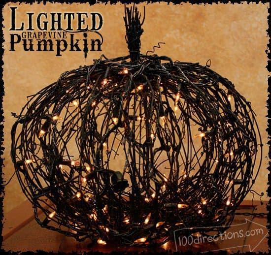 black grapevine halloween pumpkin