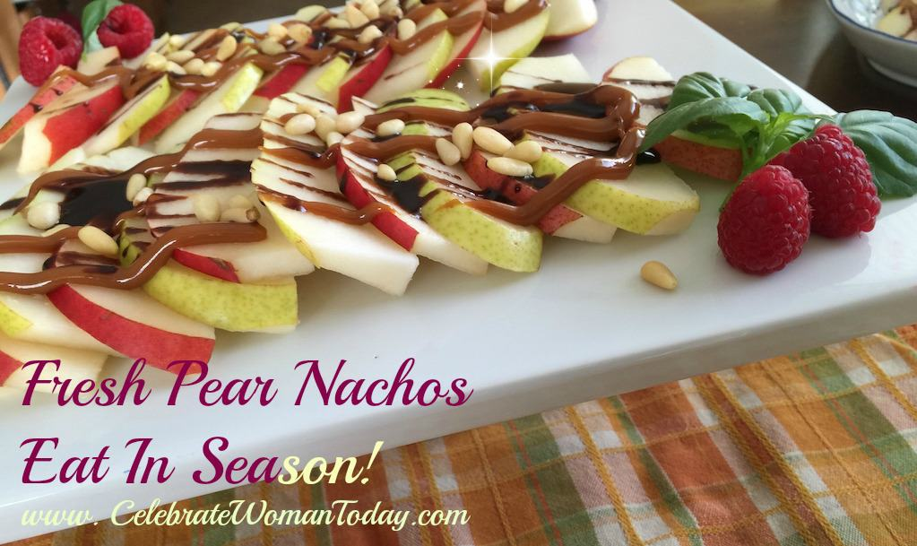 Sliced-Pears-drizzled with chocolate-caramel