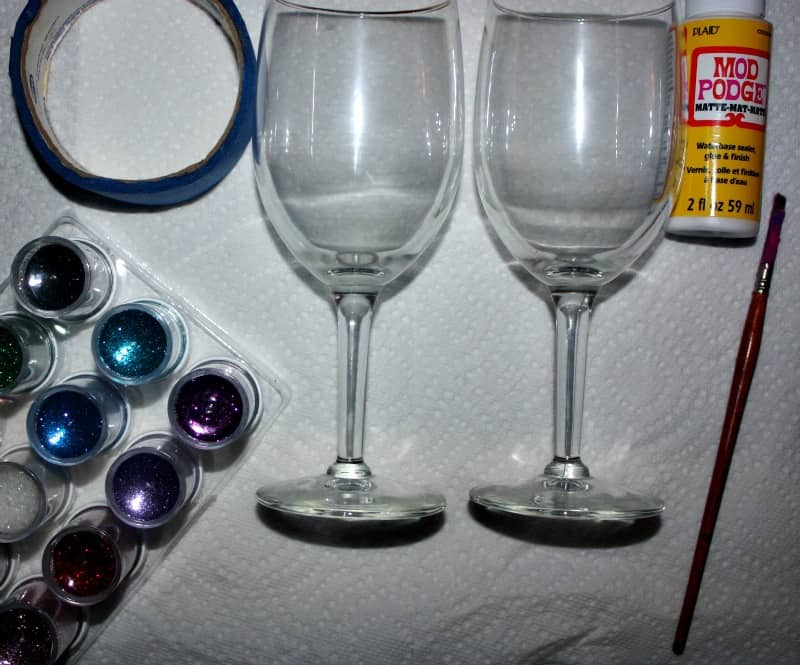 Diy glitter stem wine glasses craft How to make wine glasses sparkle