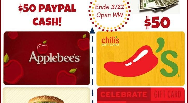 Win $50 Gift Card to Restaurant of Your Choice Or PayPal