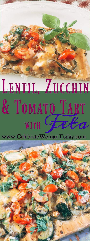 Lentil Zucchini Tomato Tart with Feta