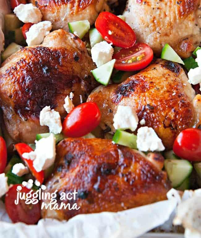 Mediterranean Chicken Thighs Sheet Pan Dinner