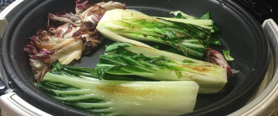 Grilled Radicchio & Bok Choy Salad with Green Lentils & Rice Noodles