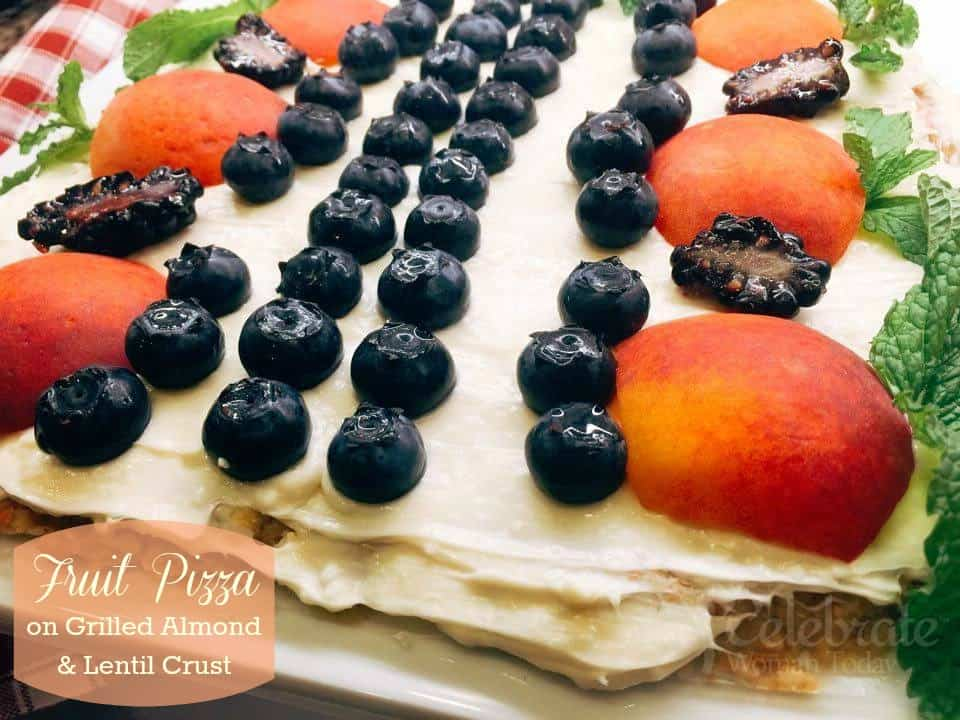 Fruit Pizza Dessert with Almonds Lentils Crust