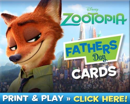 zootopia printables, zootopia cards, zootopia fathers day cards