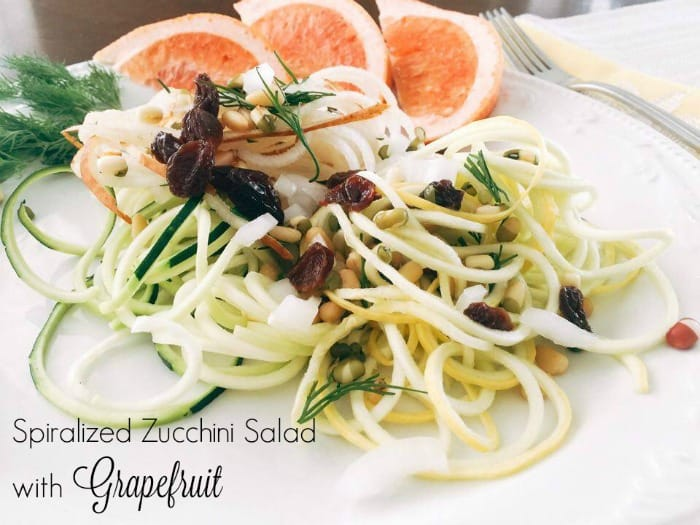 spiralized zucchini salad, grapefruit salad, vegan salad