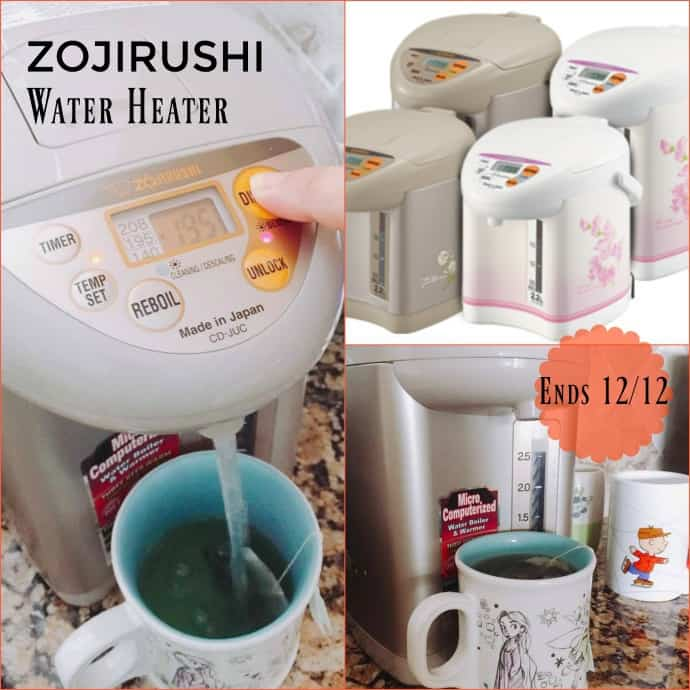 ZOJIRUSHI Water Heater Giveaway Nov 30 - Dec 12, 2016 Open to USA