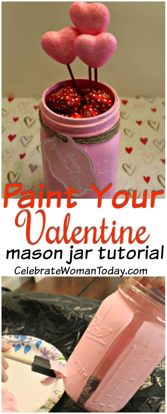 Mason Jar Craft Tutorial, Valentines Day Craft, Mason Jar Craft