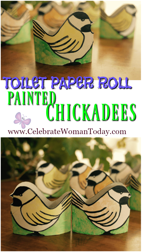 Toilet Paper Roll Painted Chickadees PIN