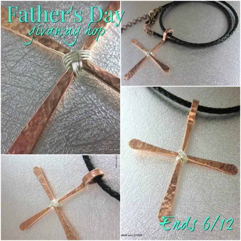 Fathers Day Giveaway Hop, Lexi Butler Designs, Copper Rod Cross Necklace