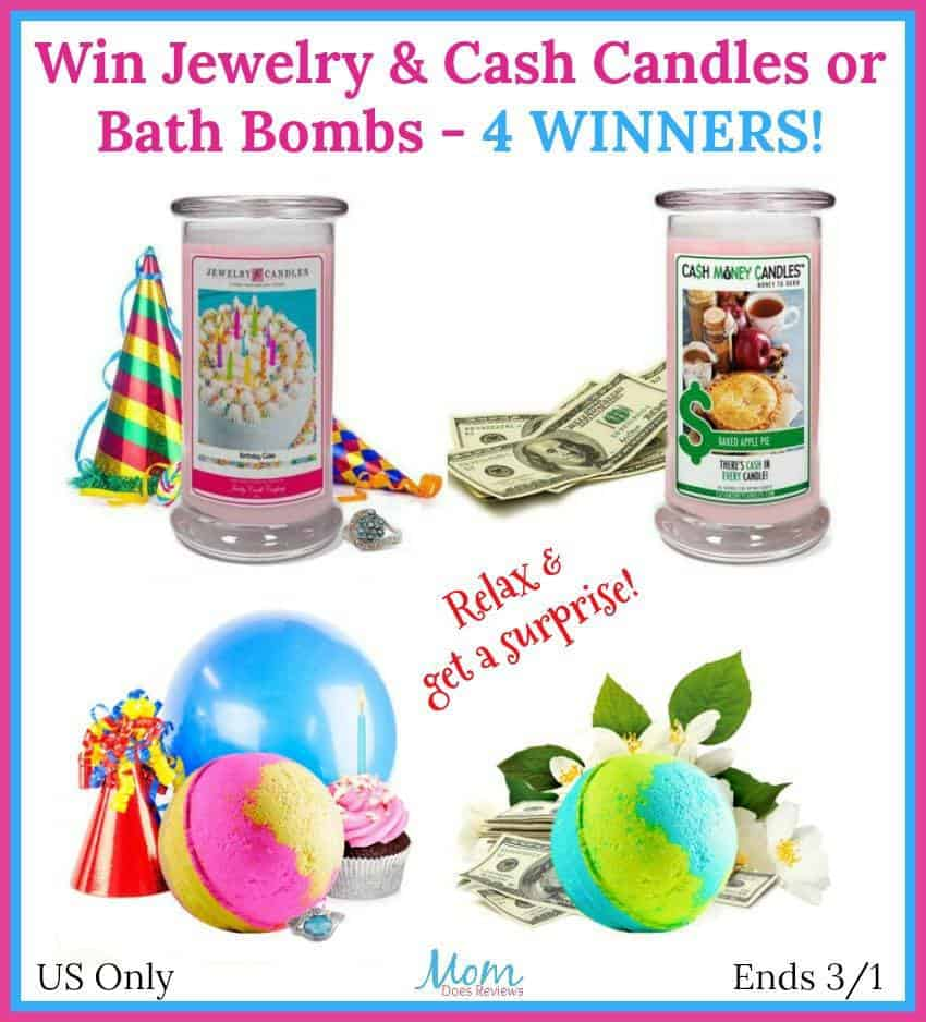 jewelry bath bombs, jewelry candles, cash candles