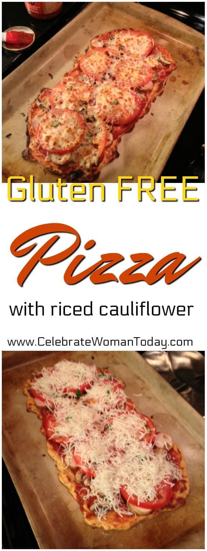 Gluten Free Pizza Recipe, riced cauliflower crust