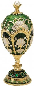 Faberge-Style Enameled Egg in Green