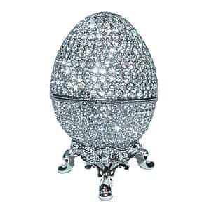 Faberge Silver Box with Swarovski Crystals