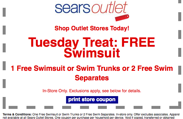 Sears Outlet FREE Swimsuit On Tuesday 9 16 14