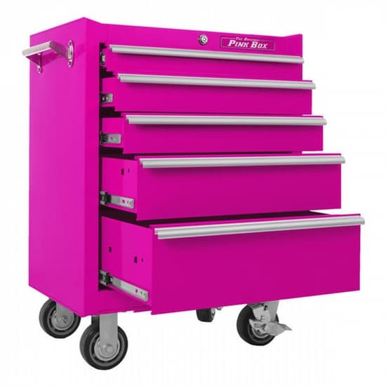 Pink 5 Drawer Steel Rolling Tools Cabinet