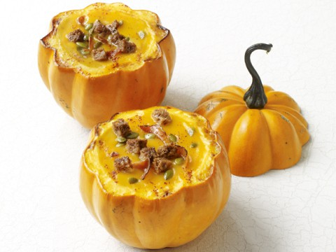Squash soup in pumpkin bowls hearty recipes