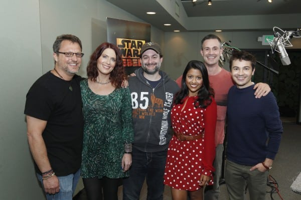 STAR WARS REBELS – Recording session. (DISNEY XD/Rick Rowell) STEVE BLUM, VANESSA MARSHALL, DAVE FILONI (DIRECTOR), TIYA SIRCAR, FREDDIE PRINZE JR., TAYLOR GRAY