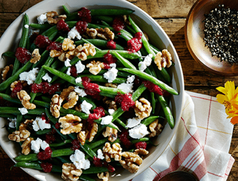 Haricots Verts With Walnuts, Goat Cheese, And Cranberry Vinaigrette Recipe