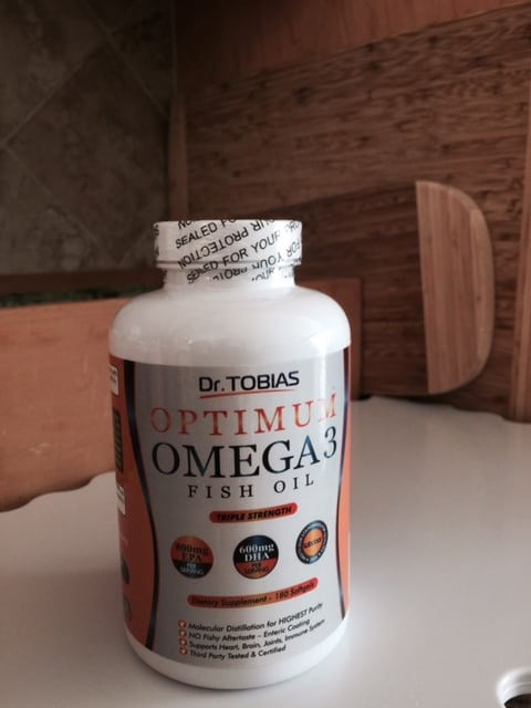 Dr Tobias Optimum Omega 3 Fish Oil supplement adds to person's daily diet