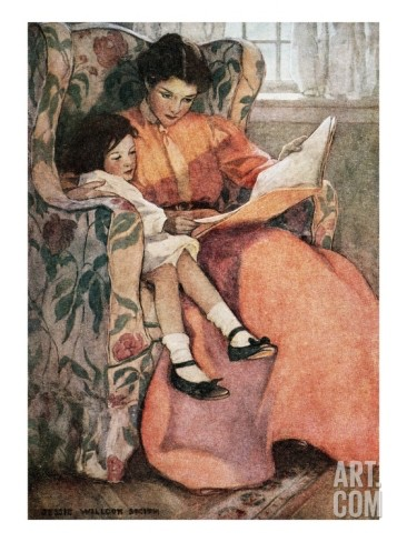 Art-book-illustration-of-mother-and-daughter-reading-by-jessie-willcox-smith