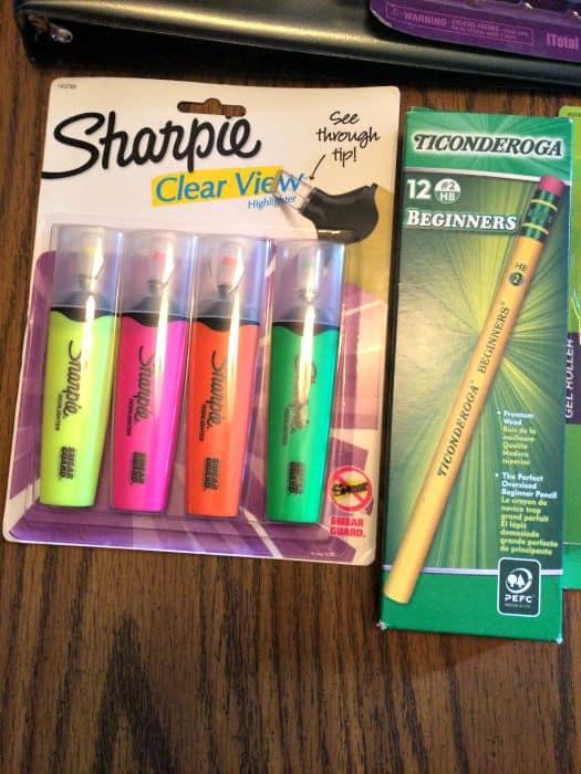 school supplies writing