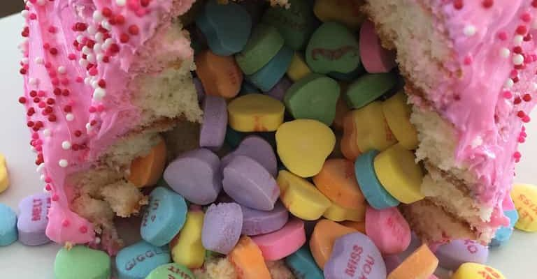 Valentine's Day Piñata Cake Recipe with Conversation Hearts Candy