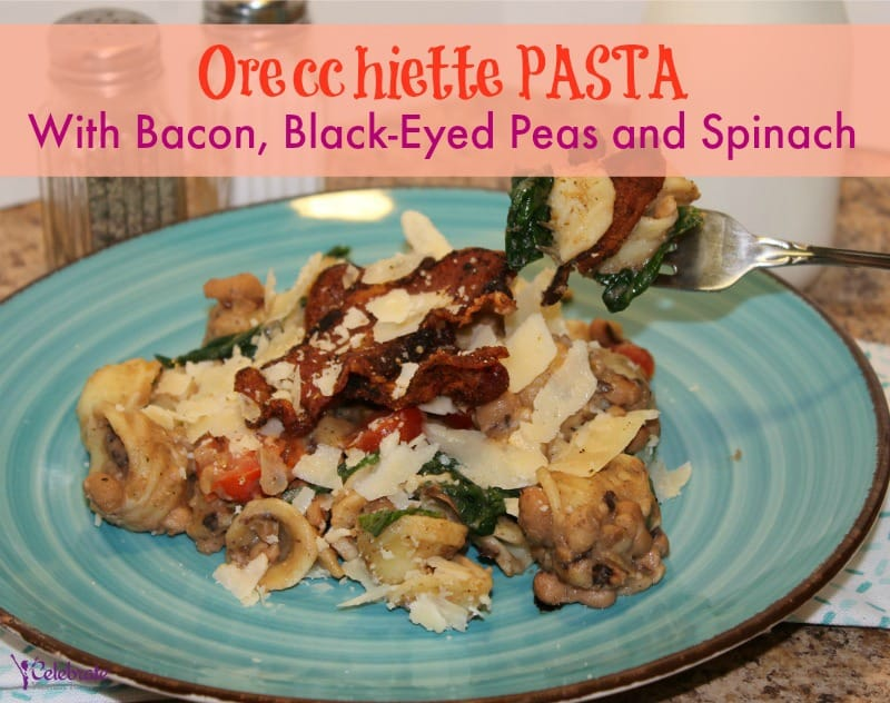 Orecchiette Pasta With Bacon, Black-Eyed Peas and Spinach Recipe