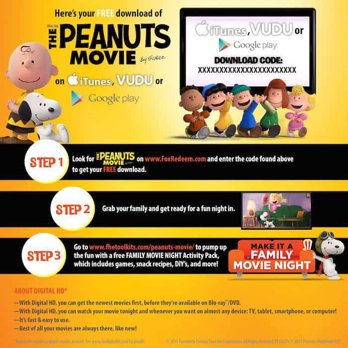 PEANUTS MOVIE digital DOWNLOAD