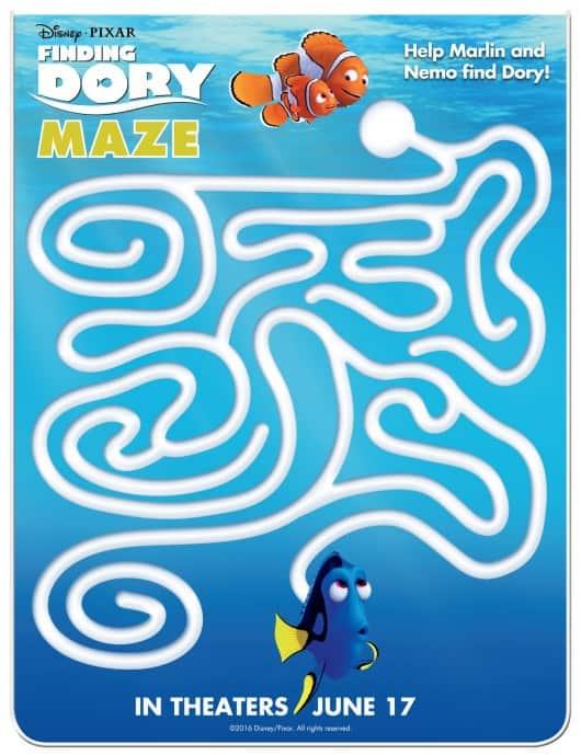 finding dory, activity sheets, maze