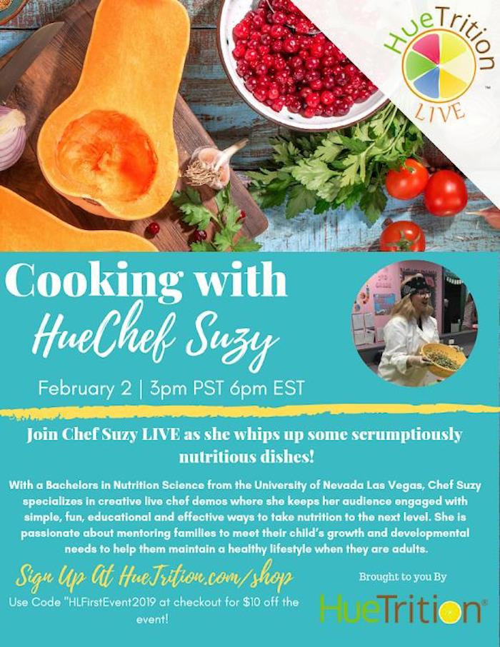 Huetrition wellness program with cooking chef Suzy