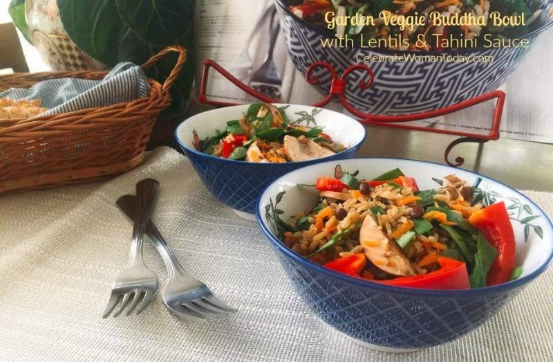 Garden Veggie Buddha Bowl with Lentils & Tahini Sauce