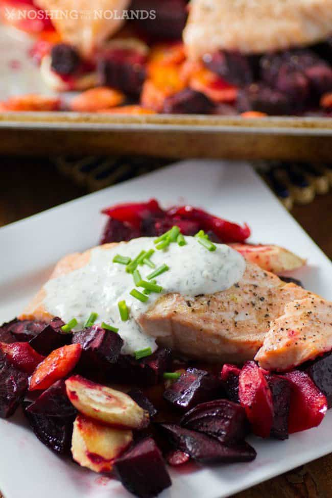 Roasted Salmon and Root Vegetables with Horseradish Sauce for your quick and easy weeknight recipe