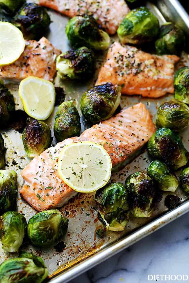 One Sheet Pan Dinner with Garlic Roasted Salmon with Brussels Sprouts