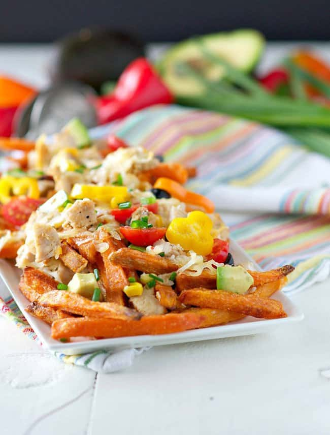Family-friendly sheet pan dinner with Skinny Chicken Taco Fries