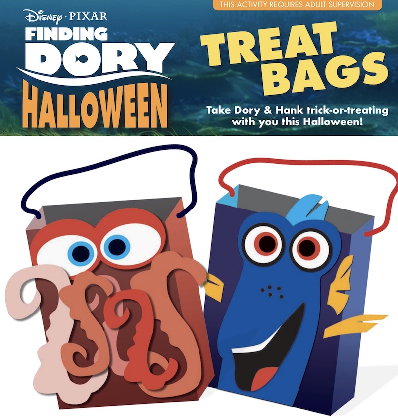 Disney Finding DORY Halloween Treat Bags of Dory and Octopus Hank