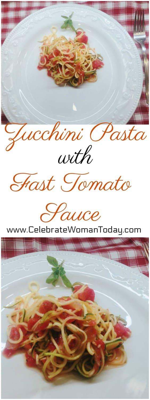 Zucchini Pasta with Fast Tomato Sauce Recipe