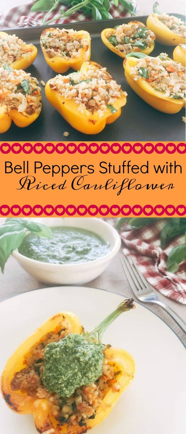 bell peppers stuffed with riced cauliflower