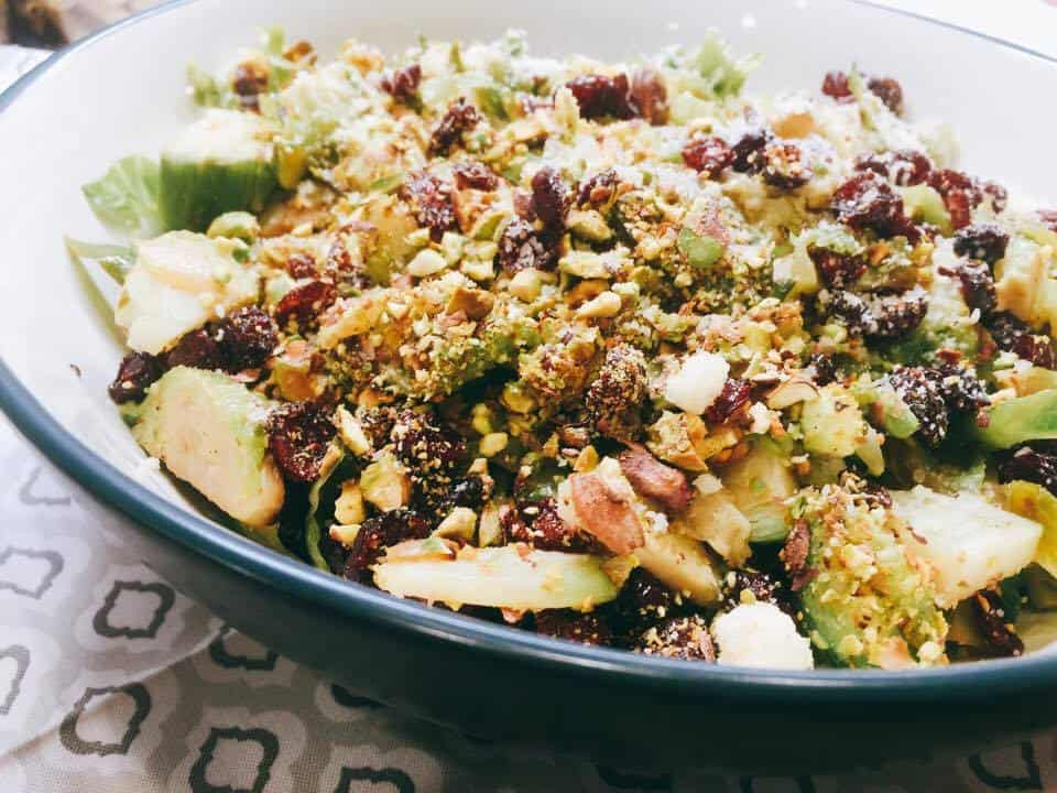 Brussels Sprouts with Pistachios Cranberries