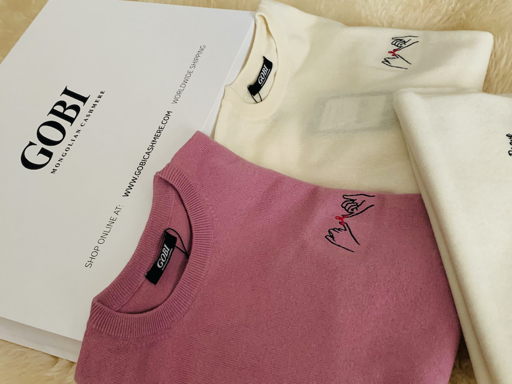 cashmere sweaters with breast cancer awareness ribbon