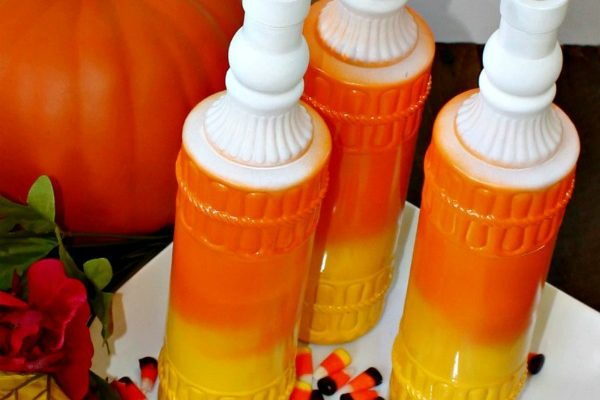 Looking For An Easy Fall And Halloween Craft? Make Candy Corn Wine Bottles!