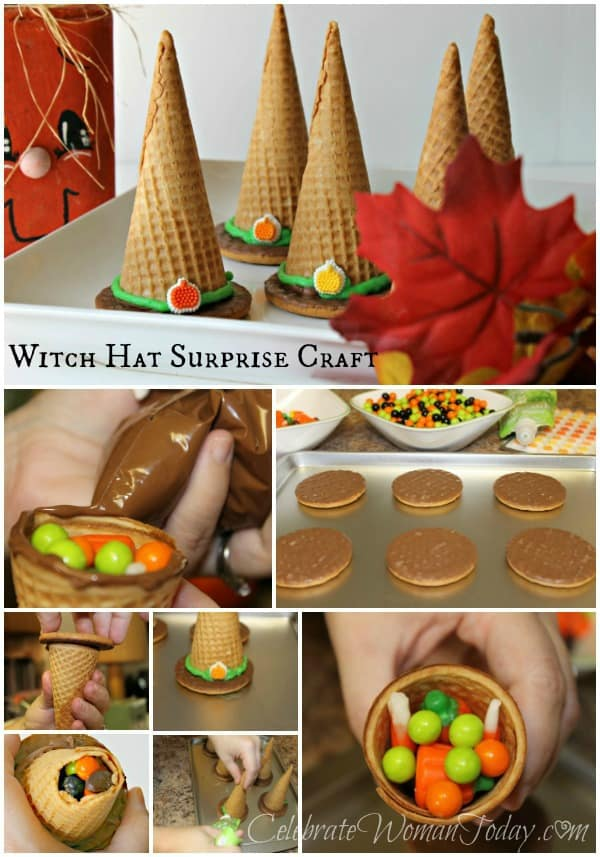 Easy Halloween Craft, Candy Witch Hat Surprise Craft