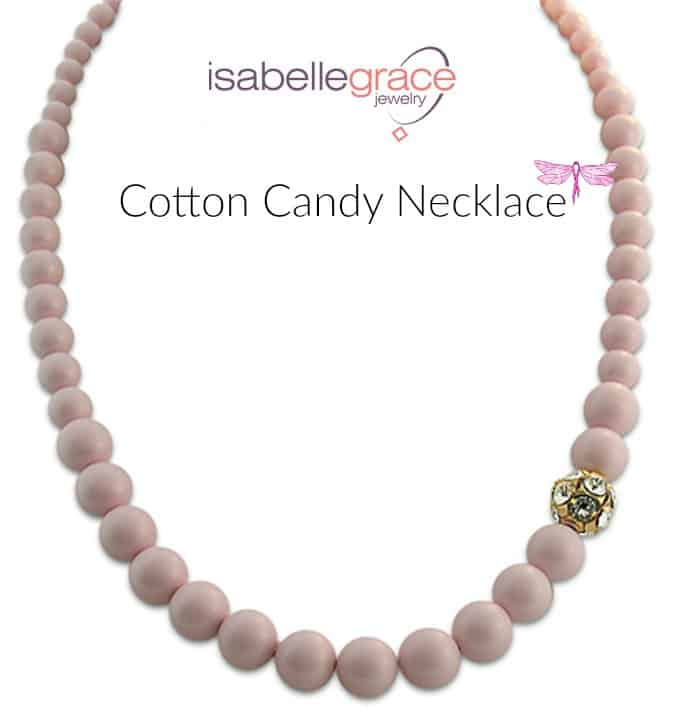 cotton candy pearl necklace, isabelle grace jewelry, breast cancer awareness