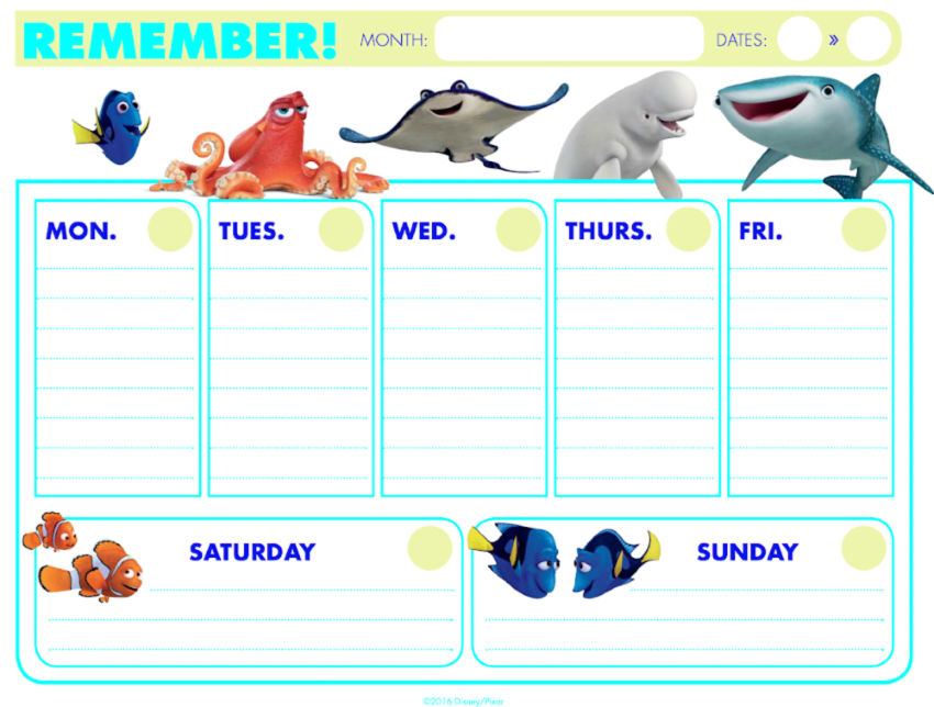 Disney Finding DORY Weekly Calendar with no dates FREE Printable