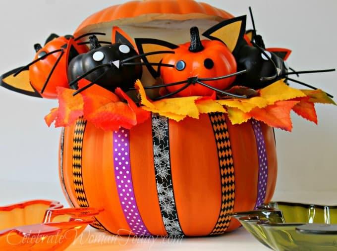 Halloween Kitty Cat Pumpkin, DIY Halloween Craft